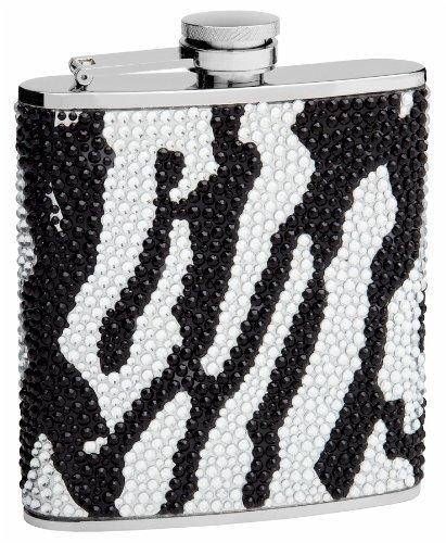 www.flasks.com F6FTOP28 Top Shelf Flasks Rhinestone Hip Flask with Zebra Pattern 6 oz