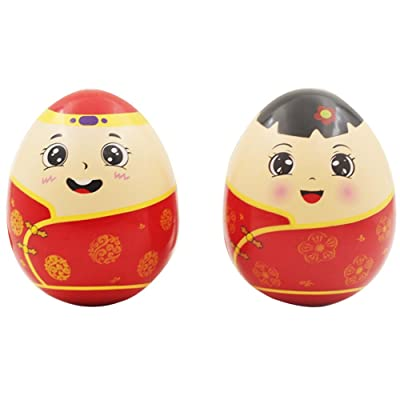 2PCS China Tumbler Roly Poly Weeble Wobble Kids Toy Dolls Instruments de musique