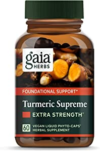 Gaia Herbs, Turmeric Supreme Extra Strength, Turmeric Curcumin Supplement with Black Pepper, Daily Joint Support & Healthy Inflammatory Response, Vegan Liquid Capsules, 60 Count
