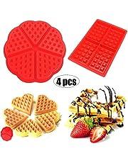 Moldes Waffles - WENTS Molde de Silicona para Waffle Anti Adherente Bandeja para Hornear Waffles Gofres