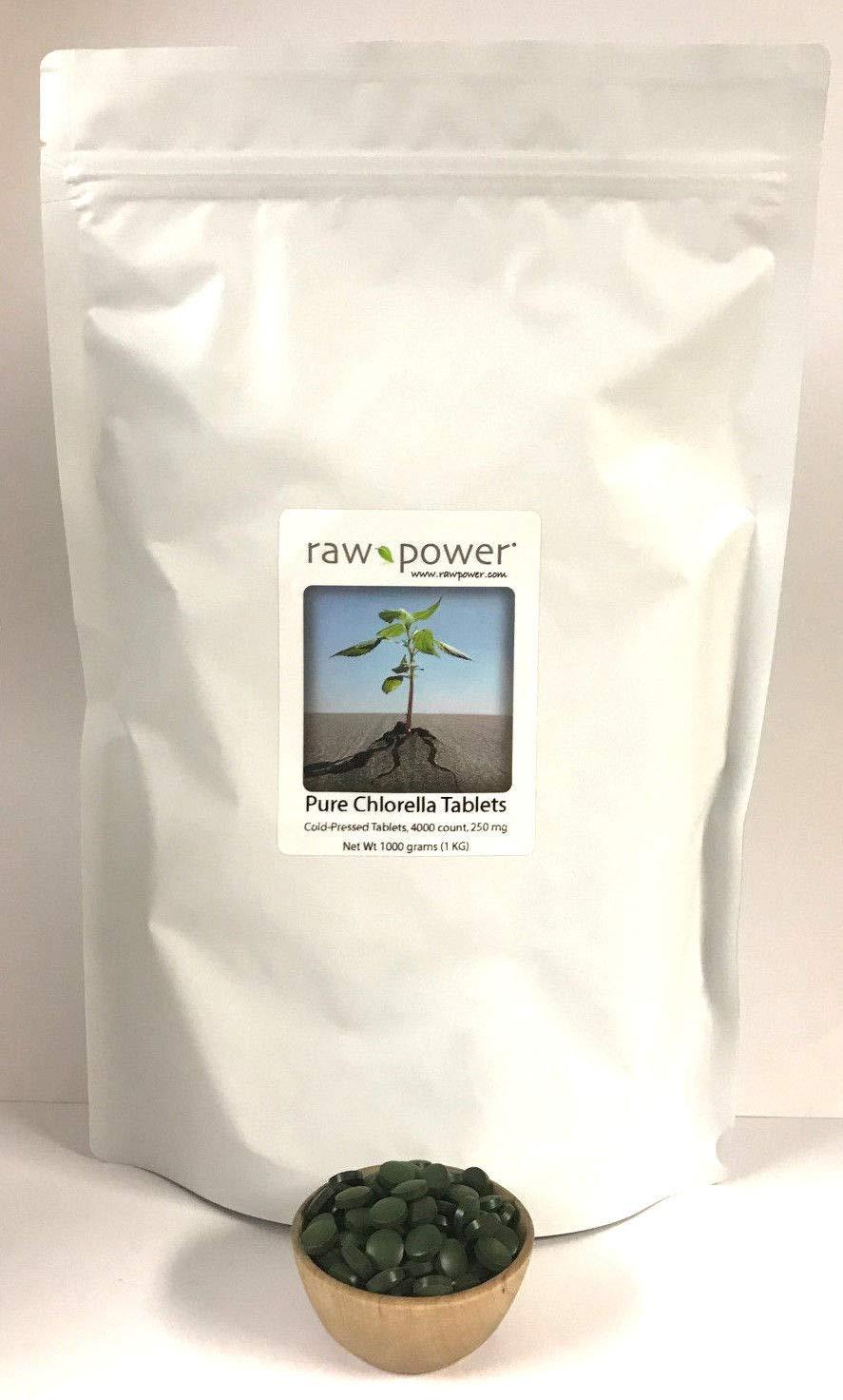 Chlorella Tablets, Clean, Pure, ONE Kilo Bag, Bulk, Premium (4000 Tablets, 250mg Each, 1000 Grams Total), Raw Power Organics Brand