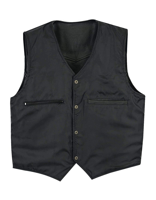 Leatherick V/éritable Cuir Noir Gilet Homme-Style Motard ou Mode d/écontract/é