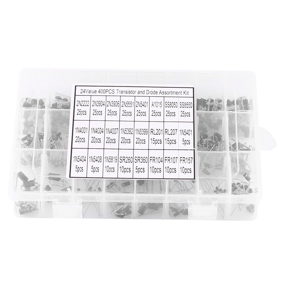 400pcs 24 Values NPN PNP Transistors Assortment Kit Low Power 2N2222-FR157 Fast Recovery Diode Rectifier with Storage Box for Electronics DIY