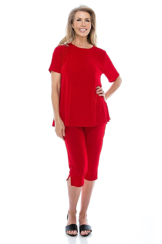 94c302ac225 Jostar Women s Stretchy Capri Pants Set Short Sleeve Plus Size - Made In USA  at Amazon Women s Clothing store