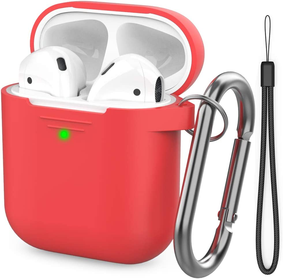 AhaStyle AirPods Case Cover [Hand Strap Included] Silicone Protective Cover Skin Compatible with AirPods 2 & 1(Red)