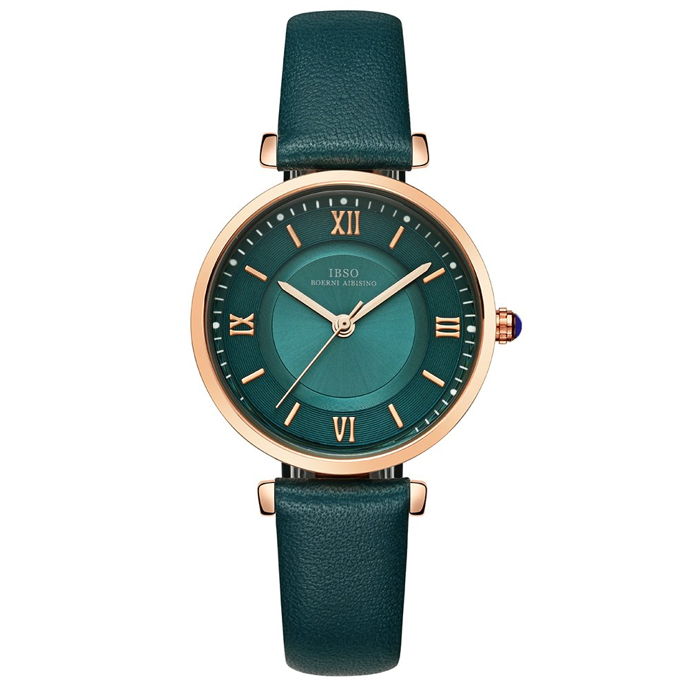 IBSO Ladies Watches Leather Band Round Case Fashion Women Watches on Sale relojes Mujer (6602-Green)