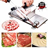 Manual Control Frozen Meat Slicer Cutting Stainless Steel Carbon Steel Blade Frozen Beef Mutton RollMeat Slicer Vegetable Meat Cheese Food Slicer Sheet Home Kitchen or Commercial Use