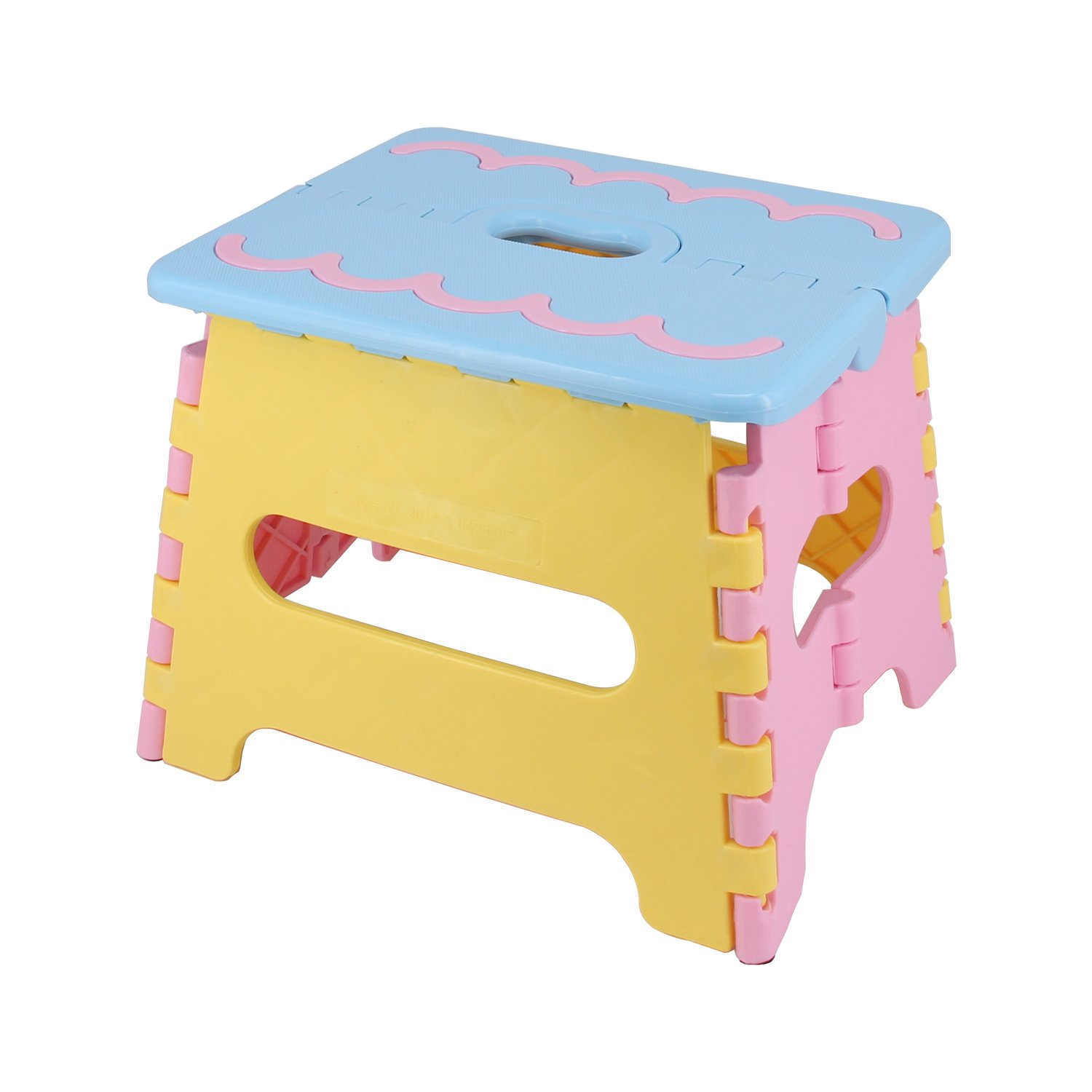 Blue Holds up to 250 LBS. Kitchen Garden Bathroom Heavy Duty Outdoor Foldable Stool 7Portable Non Slip Folding Step Stool For Kids /& Adults