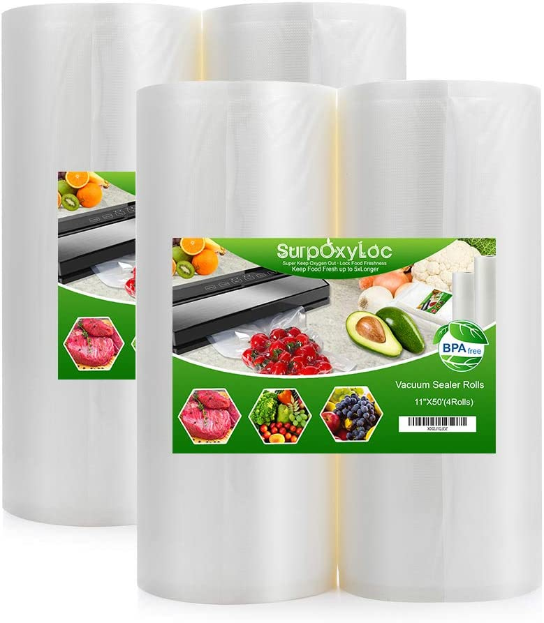 SurpOxyLoc (Total 200 Feet) 4 Pack 11x50 Vacuum Sealer Bags Rolls for Food Saver,Seal a Meal,Plus Other Machine,BPA Free,Heavy Duty,Great for Sous Vide Cooking