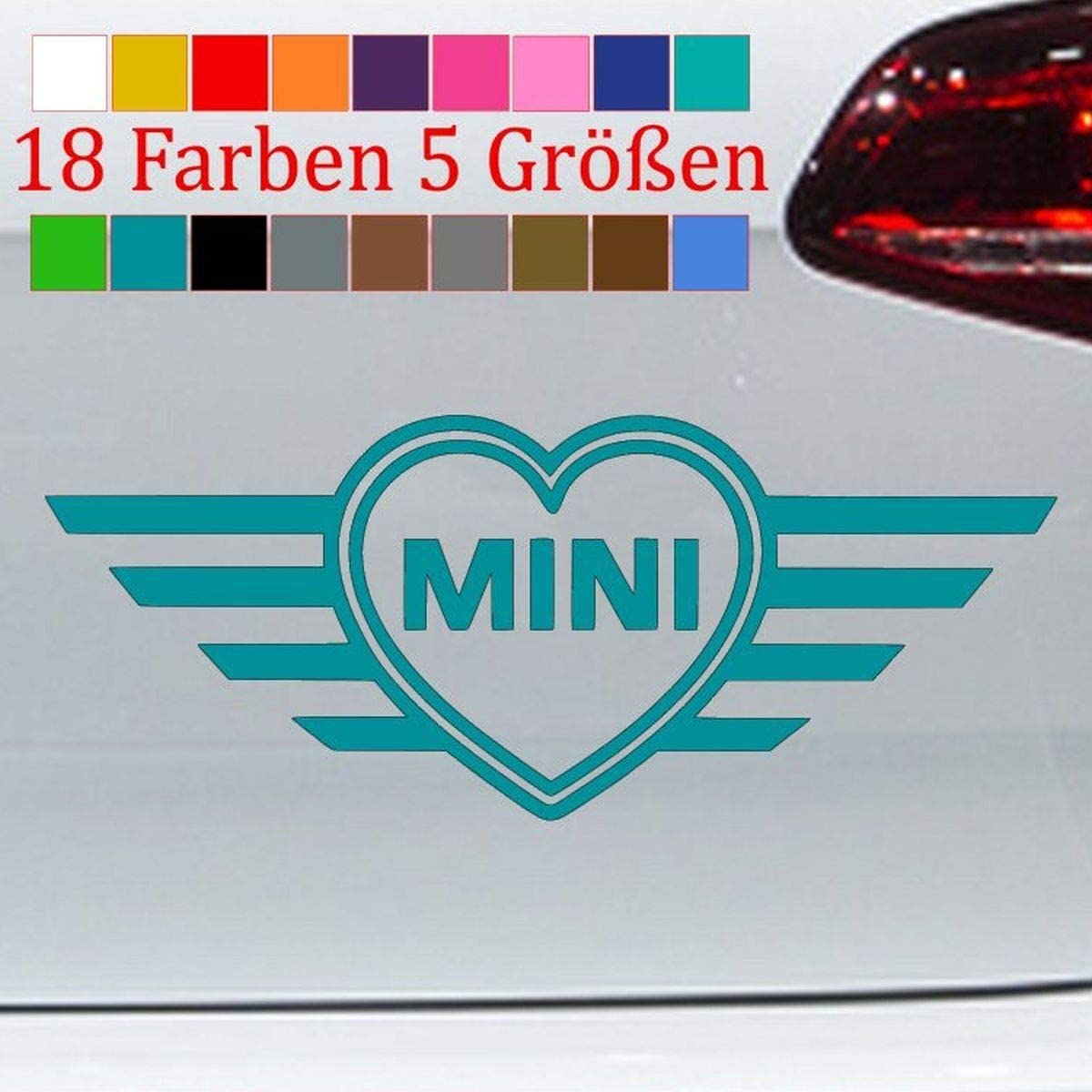 Pegatinas genéricas con diseño de Mini Cooper en forma de corazón, 18 colores, S-XXL, 66-azul turquesa, XXL-46x18cm
