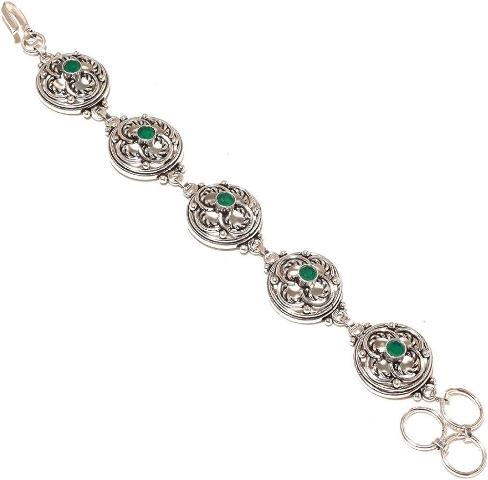 Green Dyed Emerald Sterling Silver Overlay 30 Grams Bracelet 7-9 Designer