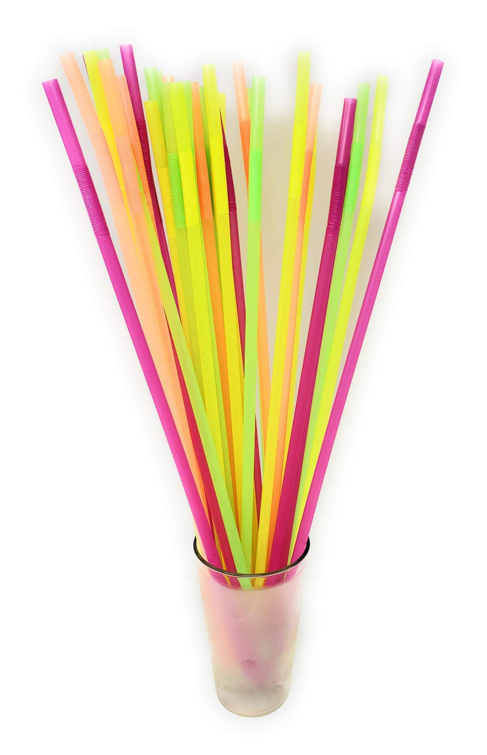 17 Long Flexible Neon Straws - Assorted Colors - 3 Packs of 200 (600 in Total!) by Barware