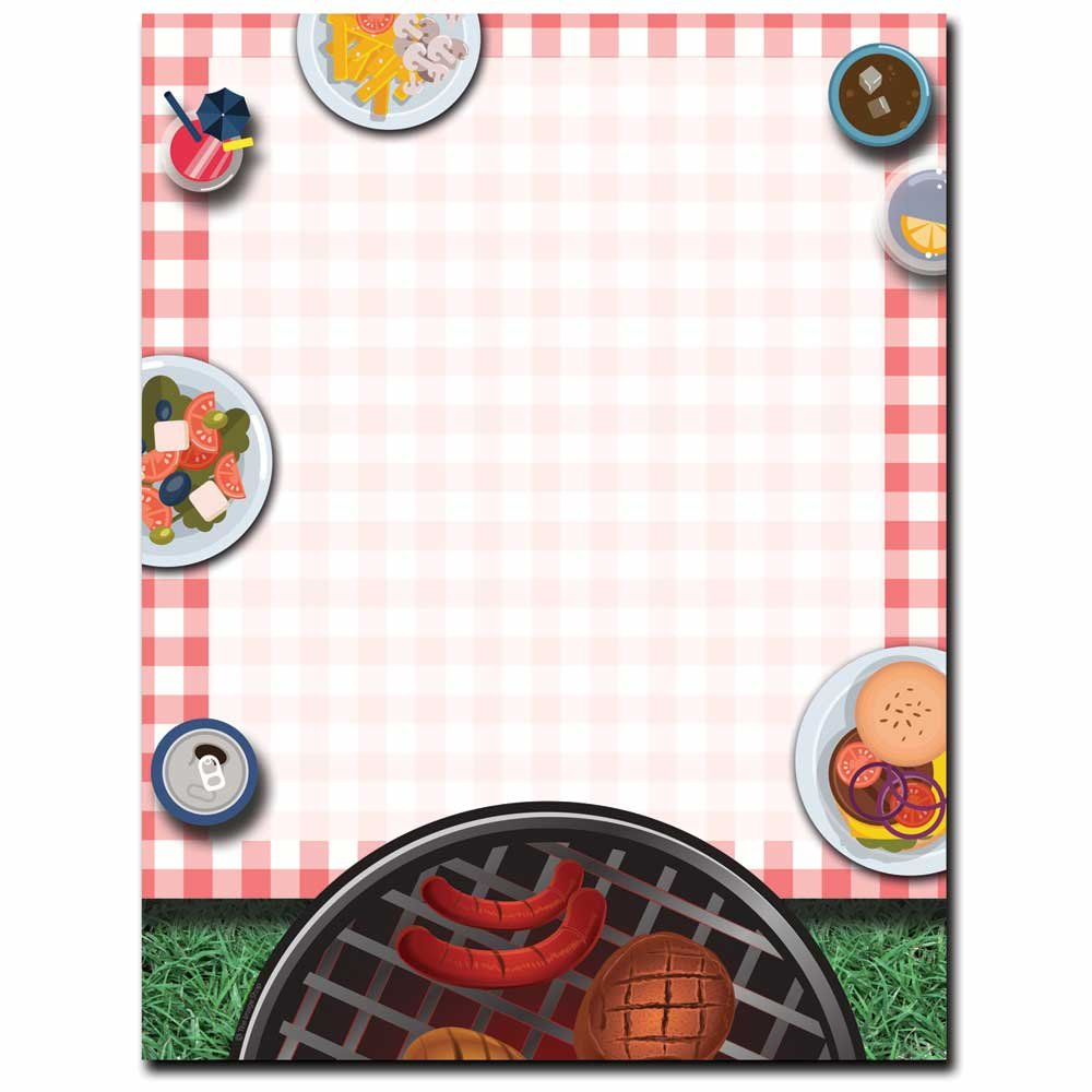 Summertime Backyard BBQ Letterhead Laser & Inkjet Printer Paper, 100 pack