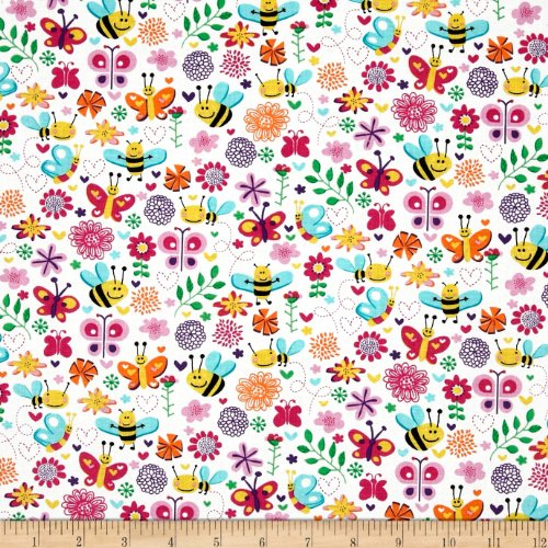 Michael Miller Happy Tones Busy Bee Pink Fabric By The Yard
