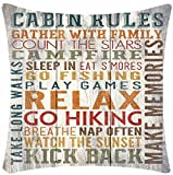 Retro Vintage Cabin Rules Gather With Family Kick Back Cotton Linen Decorative Throw Pillow Case Cushion Cover Square 18