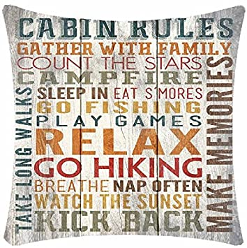 Retro Wood Grain Ground Lake Rules Jump Off The Dock Go Boating Relax And Unwind Enjoy The Fresh Air Make Memories Cotton Linen Square Decorative Home Indoor Throw Pillow Case Cushion Cover 18 X18