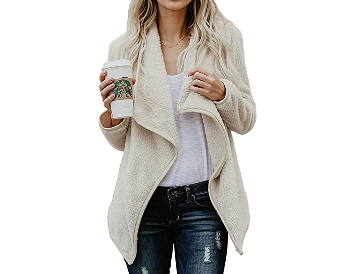 Luluka Women's Open Front Long Thick Knit Cardigan Sweaters Fluffy ...