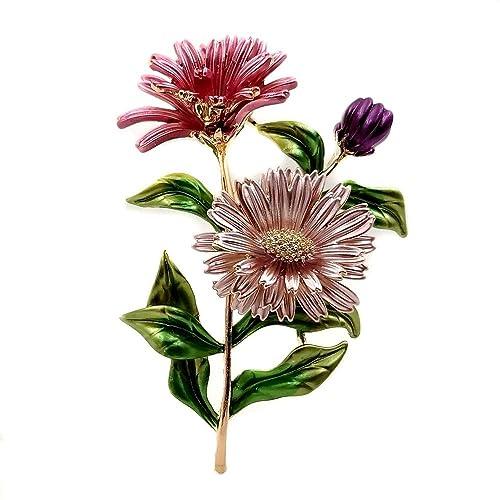 02c92c1af7c Amazon.com: DREAMLANDSALES Retro Vintage Enamel Daisy Flowers Bouquet Brooch  Chrysanthemum Pin Spring Jewelry: Jewelry
