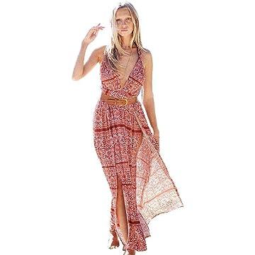 lantusi Women Casual Halter Sleeveless Floral Side Split Backless Dress Dresses