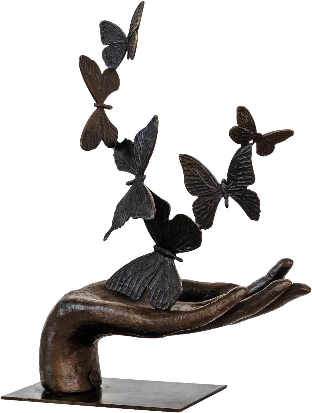 aubaho Sculpture Papillon Main Bronze Antique Figurine 36cm