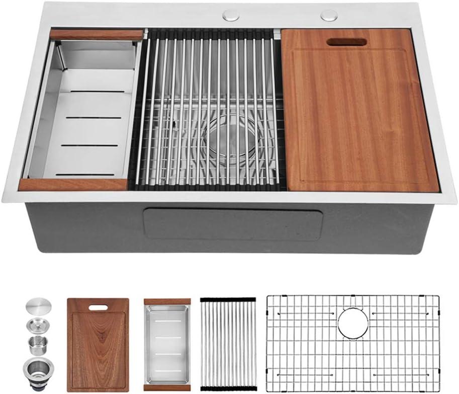 30 Kitchen Sink Drop In - Sarlai 30 Inch Stainless Steel Drop-in Kitchen Sink Topmount 16 Gauge Deep Single Bowl Ledge Workstation Sink Basin