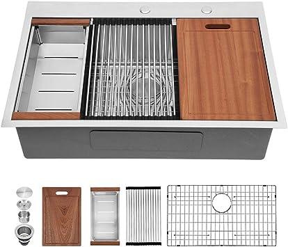 Kitchen Sink Drop In Sarlai 28 Inch Stainless Steel Kitchen Sink Ledge Workstation Sink Drop In Topmount 16 Gauge R10 Tight Radius Single Bowl Kitchen Sink