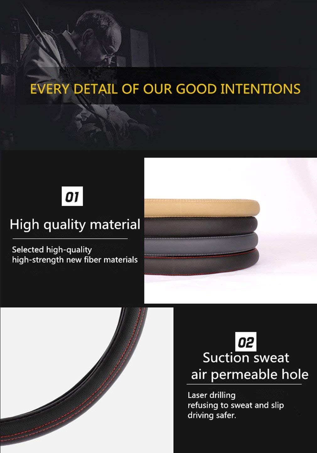 /… 15 Pahajim Universal D Forma Microfibra Suave Funda para Volante Cubierta del Volante del Coche Universal Di/ámetro 38cm