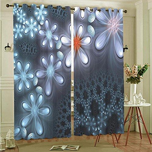 Two Panel Set Window Curtain Fractal Vibrant Flower Pattern Computer Art Featured Futuristic Ornate Petals Graphic Blu Polyester Window Treatments For Bedroom Diningroom Livingroom Dorm, (Best Blu Windows)