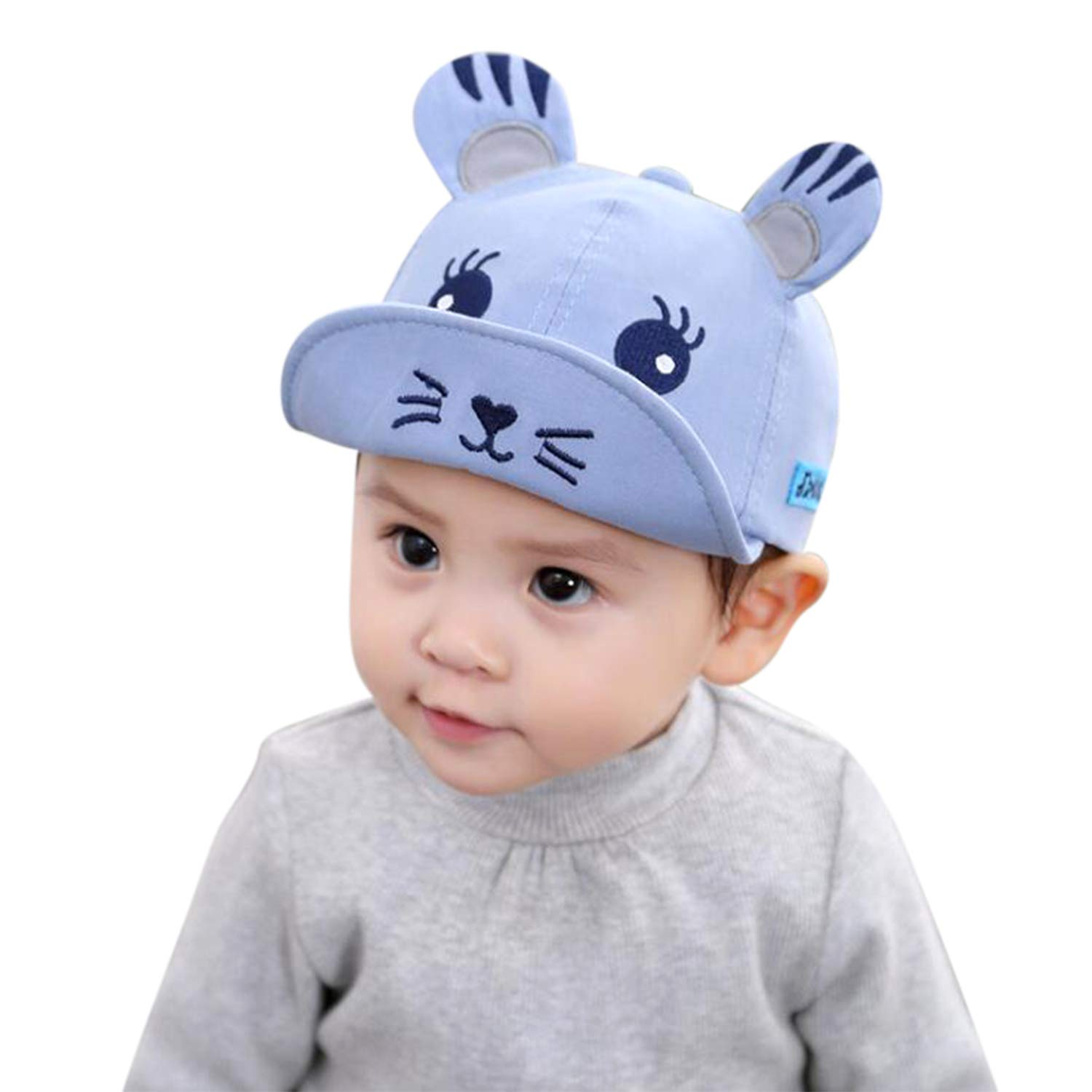 3e2769dafbfd Amazon.com: LONTG Cute Newborn Infant Baseball Cap Cotton Peaked Cap Baby  Boy Girl Summer Sunhat Bonnet Embroidered Breathable Adjustable for Baby  Toddlers ...