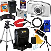 Nikon COOLPIX S33 Waterproof & Shockproof 13.2 MP Digital Camera with 3x Zoom NIKKOR Lens and Full HD 1080p Video, White - International Version (No Warranty) + EN-EL19 Battery & AC/DC Battery Charger + 11pc Bundle 32GB Deluxe Accessory Kit w/ HeroFiber Ultra Gentle Cleaning Cloth Basic Intro Review Image