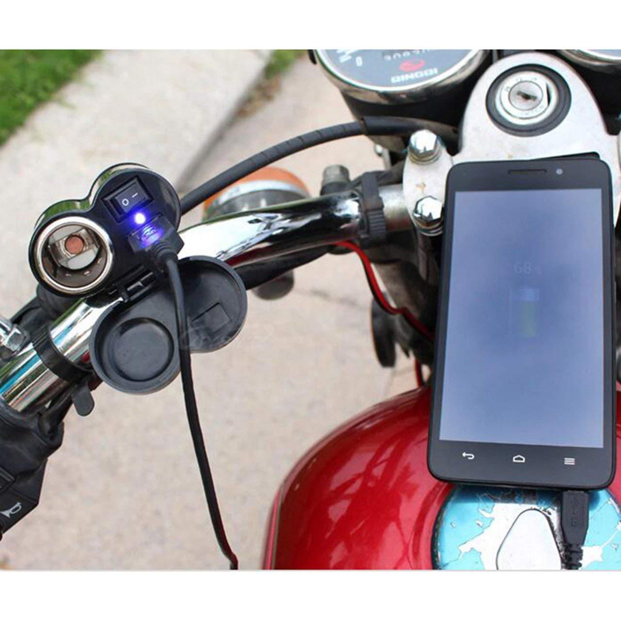 Moto usb chargeur 2-en-1 /étanche v/éhicule /électrique allume-cigare prise usb t/él/éphone mobile universel noir Jasnyfall