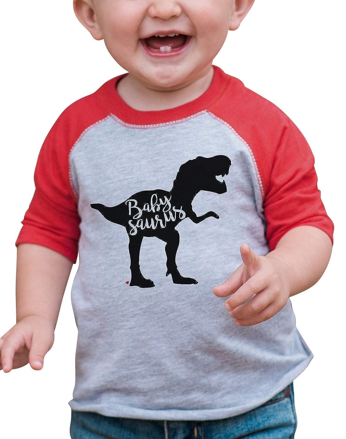 7 ate 9 Apparel Babys Dinosaur Babysaurus Red Raglan