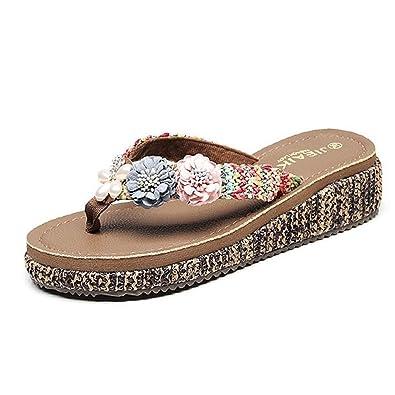 1928a7f3d6b09 GIY Women Flowers Flip Flops Bohemian Summer Beach Outdoor Anti-Slip Thong Platform  Wedge Sandals