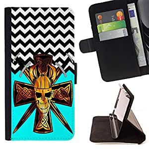 King Case - FOR LG OPTIMUS L90 - Face your fear - Prima caja de la PU billetera de cuero con ranuras para tarjetas, efectivo Compartimiento desmontable y correa para la mu?eca