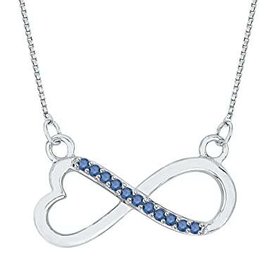 9c8b41b534f978 Amazon.com: KATARINA Blue Diamond Infinity Heart Pendant Necklace in Sterling  Silver (1/20 cttw): Jewelry