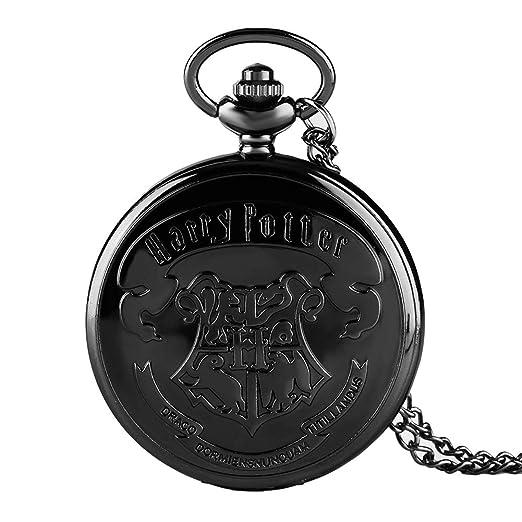 Harry Potter Reloj de Bolsillo, Negro Hogwarts Escuelas Logo Case Cuarzo Relojes de Bolsillo, Hombre: Amazon.es: Relojes