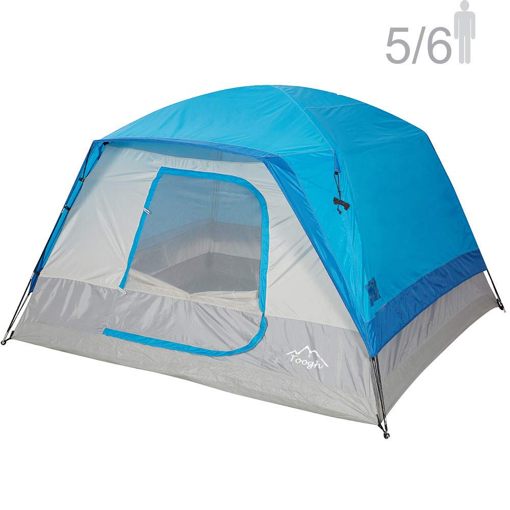 Toogh 5-6 Person Camping Tent Waterproof Backpacking Tents for Outdoor Sports10' x 9' -Center Height 74in[Blue] by Toogh