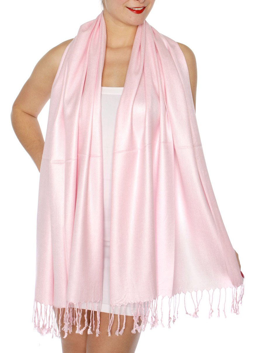 SERENITA Women's Silky Solid Pashmina Style 32 L Pink, One Size by SERENITA (Image #3)
