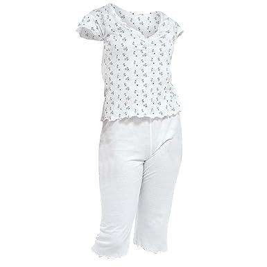 Ladies Womens 3 4 Cropped PJ Pyjamas Sets T-Shirt PJ s 2 Piece Size ... d46e81d9ab