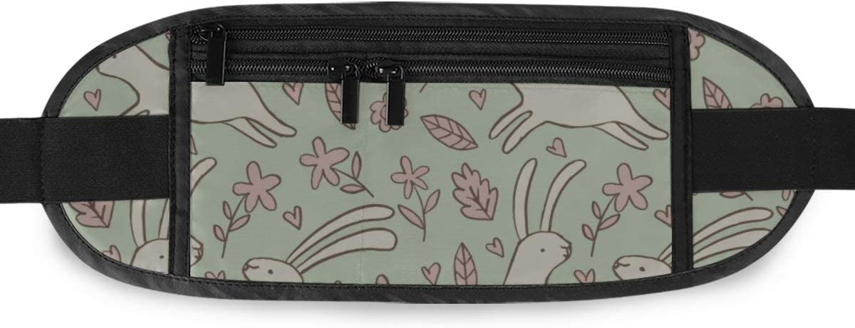 Delicate Spring Rabbits Flowers Running Lumbar Pack For Travel Outdoor Sports Walking Travel Waist Pack,travel Pocket With Adjustable Belt