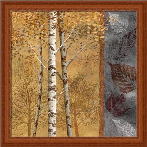 秋IIで樺の木ツリーアートプリントフレーム付き 12  x 12  Inch  Oak Frame B004AMGD6Y