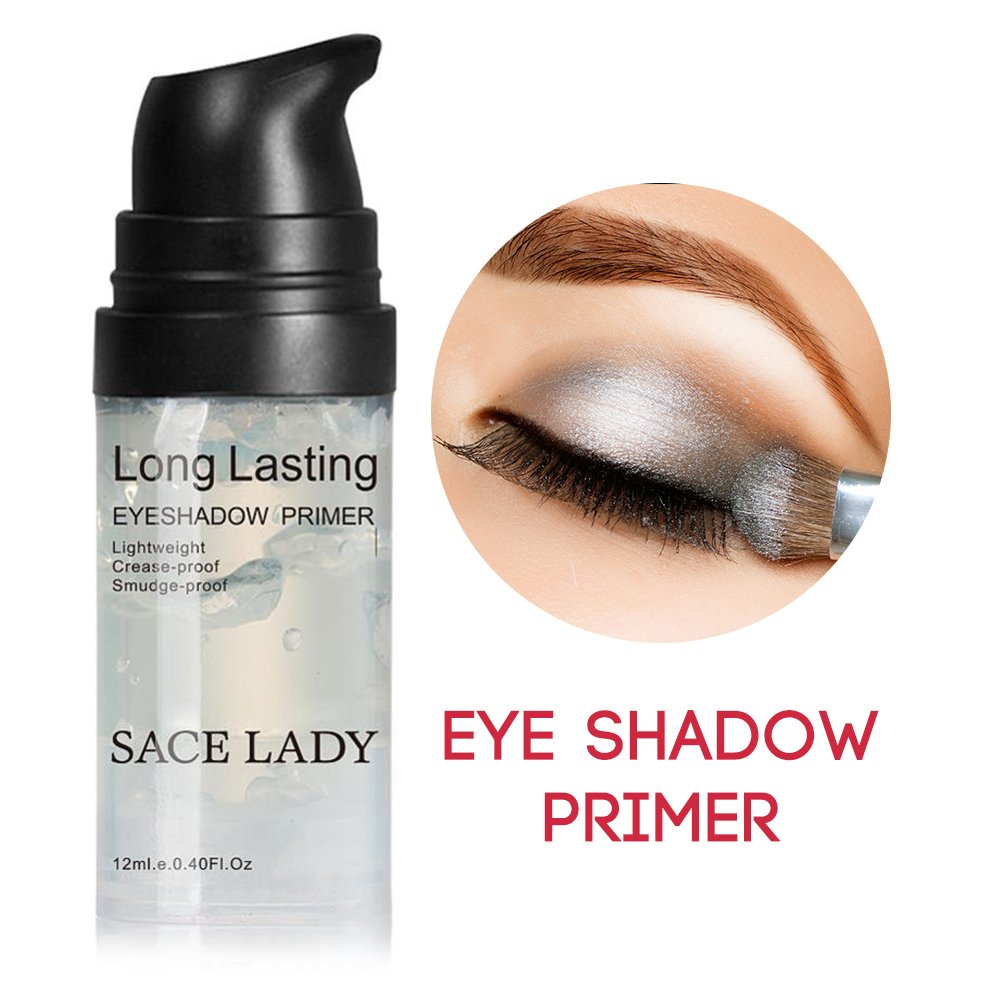 Eyeshadow Primer Base, Long Lasting Waterproof Eyelid Primer for Eye Makeup Gel, Oil Control and Smooth,Smudge-proof Non Crease (Size:0.4 Fluid Ounce, Color: Transparent) by SACE LADY (Image #1)