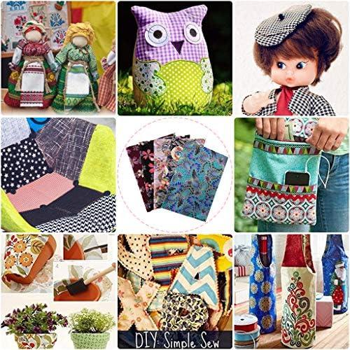 Qililandiy 7 pcs 18x22 Floral Printed Owl Design Cotton Patchwork Quilting Fabric Textile for Sewing DIY Crafting Fat Quarter Bundles