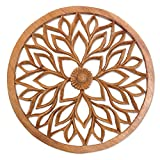 NOVICA Floral Wood Wall Sculpture, Brown,'Petaled Energy'