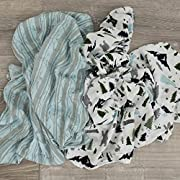 Softest Bamboo Muslin Swaddle Blankets for baby 70% Bamboo 30% Cotton XL 47 x 47  2 Pack by Graced Soft Luxuries (Floral Garden)