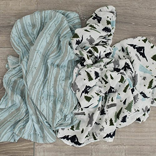 Extra Soft Bamboo Muslin Swaddle Baby Blankets 70% Bamboo 30% Cotton 2 Pack by Graced Soft Luxuries (Woodland Forest)