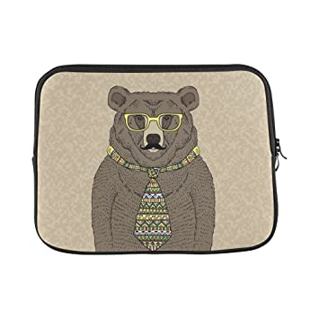 dc5681b0ac02 Amazon.com: InterestPrint Funny Hipster Bear in Tie and Glasses with ...