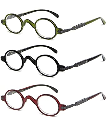 ee09fe7c4a71 Calabria R314 Unisex Vintage Professor Oval Reading Glasses Incredibly  Lightweight and Comfortable 3-PACK VARIETY