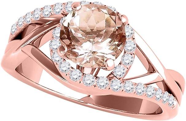 1.0 ct Round Cut Natural Morganite Classic Wedding Engagement Bridal Promise Designer Statement Ring 14k Yellow Gold
