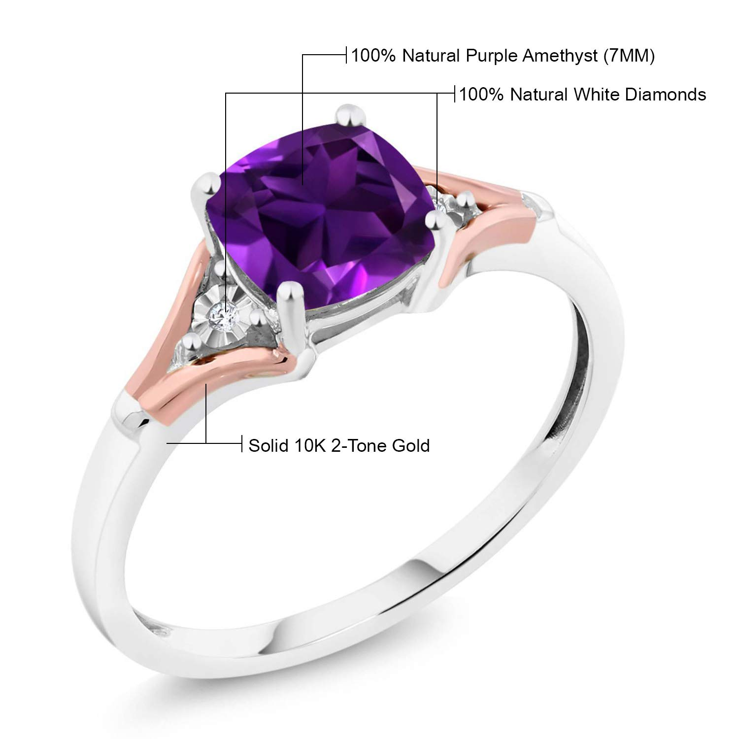 Gem Stone King 10K 2-Tone Gold Purple Amethyst and Diamond Women s Ring 1.40 Ct Cushion Cut Available 5,6,7,8,9